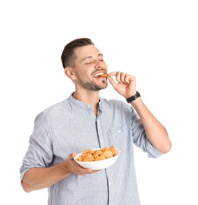 Fleisch fressende Kartoffelchips lizenzfreies stockfoto