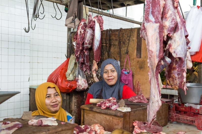 Fleisch marktet Surabaya in Indonesien stockfotos