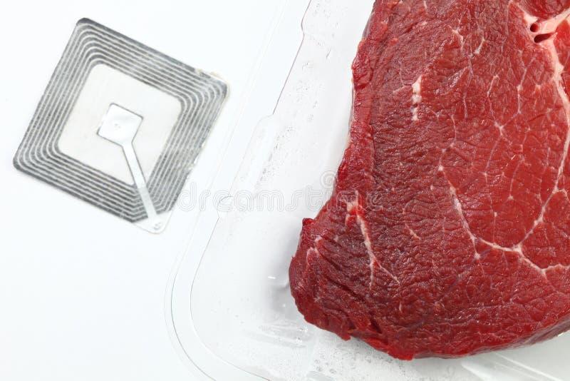 Fleisch mit rfid Tagszene stockbilder