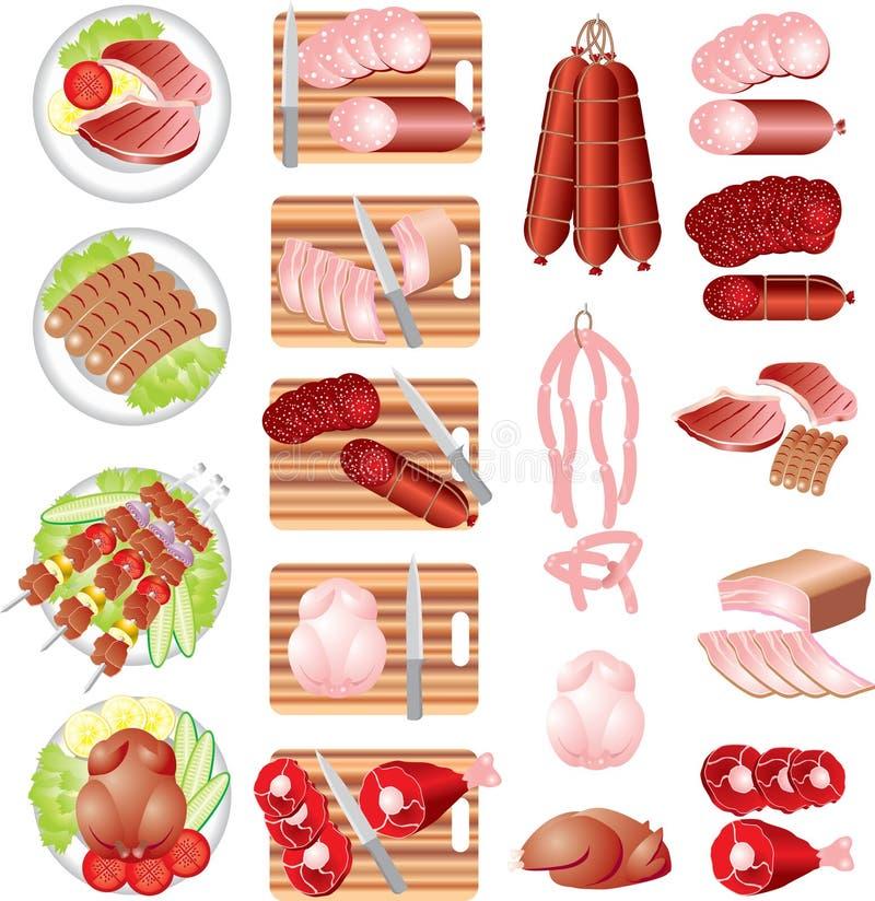 Fleisch-Produkte lizenzfreie abbildung