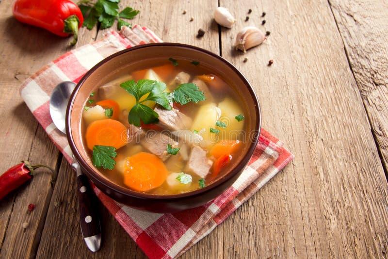 Fleisch und Gemüsesuppe lizenzfreies stockbild