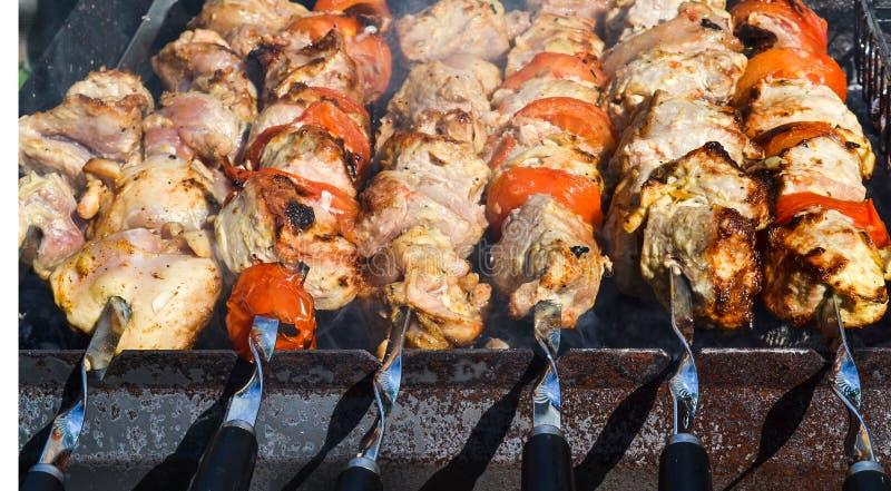 Fleisch von Schweinefleisch, im Freien gemacht als Kebab auf einem Picknick stockfotos