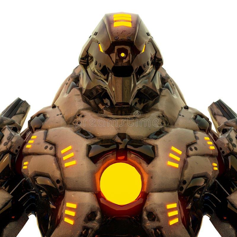 Fleischfresser von der W?ste und gelber gl?hender Roboter in einem wei?en Hintergrund lizenzfreie abbildung