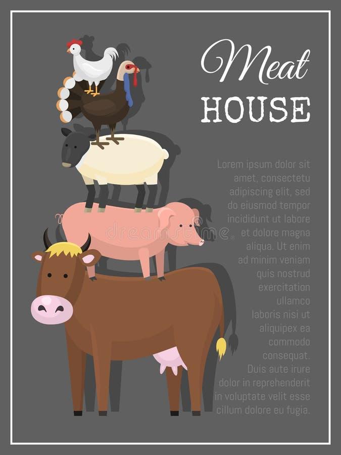 Fleischhaus-Plakatvektorillustration Verschiedene Arten des Fleisches wie Rindfleisch, Huhn, Lamm, Hammelfleisch, Schweinefleisch vektor abbildung