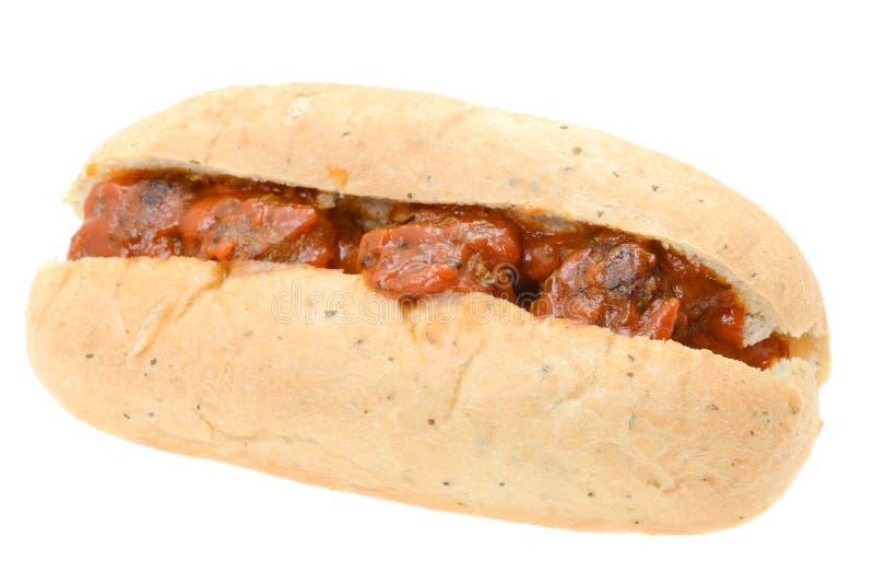 Fleischklöschen-Sandwich mit einer Marinara Soße stockbilder