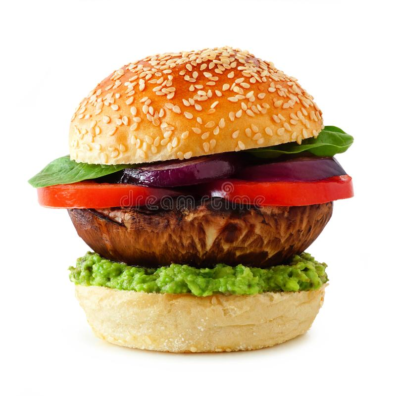 Fleischloser Burger Portobello-Pilzes lokalisiert auf einem weißen Hintergrund lizenzfreies stockbild