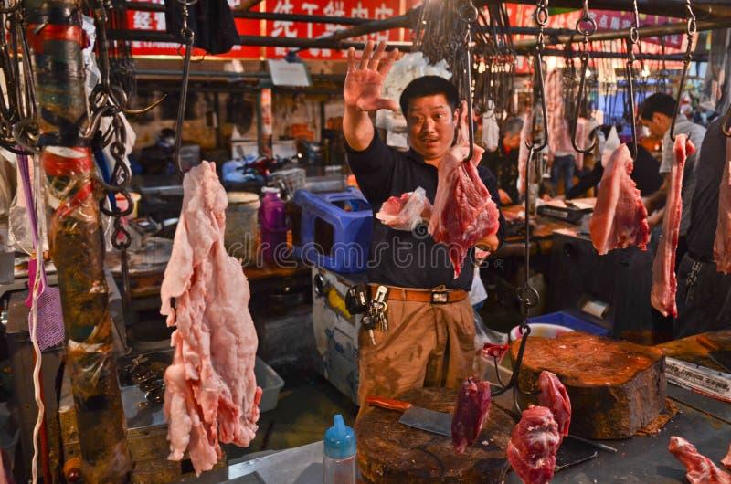 Fleischmarkt in Chengdu, China lizenzfreies stockfoto