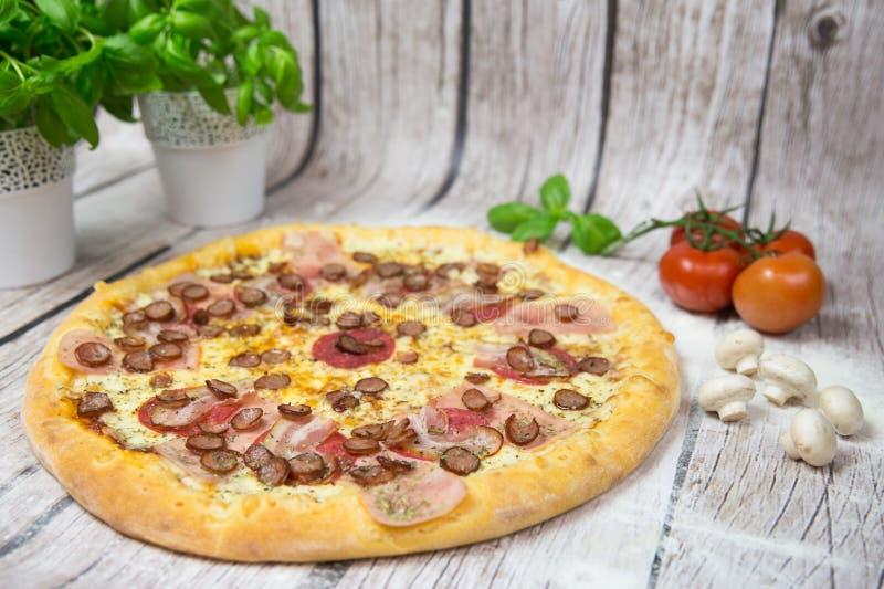 Fleischpizza mit Hintergrund stockbilder