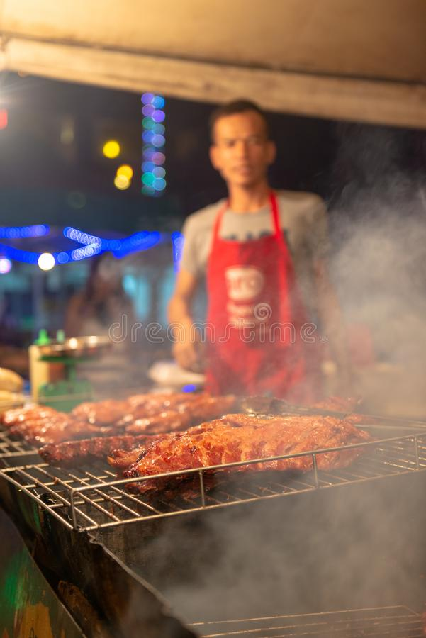 FleischStraßenhändler Phuket lizenzfreie stockbilder