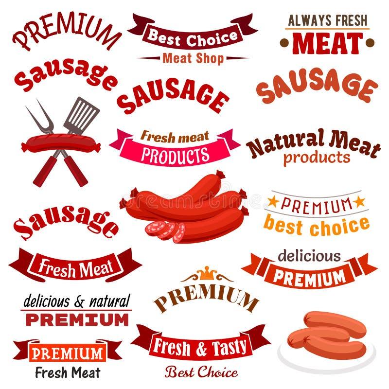 Fleischwurstwaren-Vektorikonen, Bänder eingestellt stock abbildung