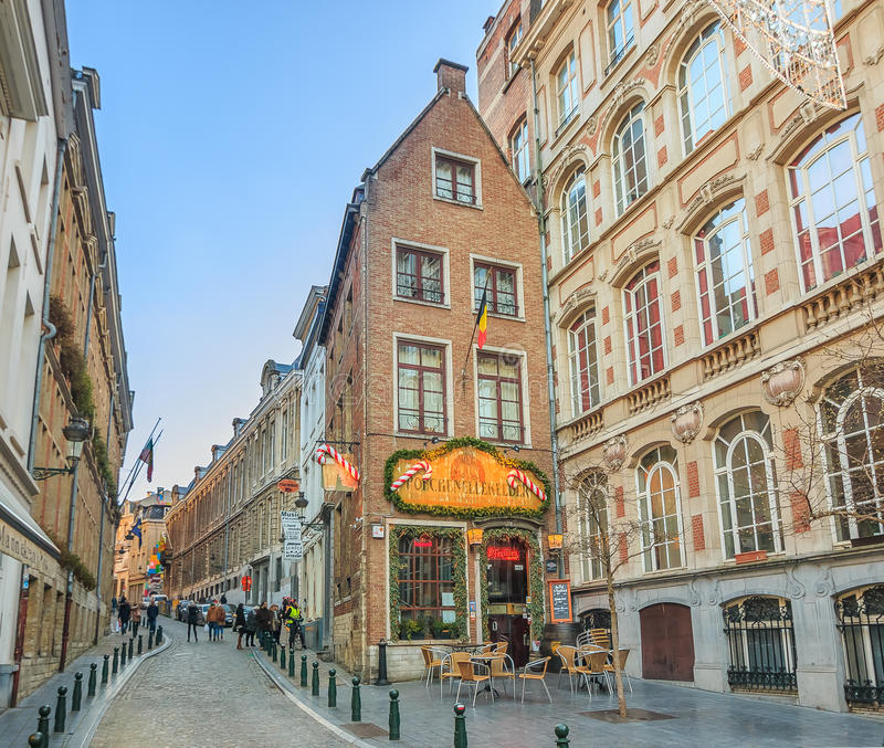 Flemish buildings in Brussels stock images