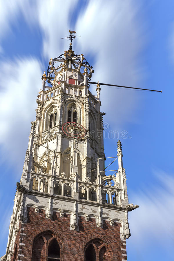 Flemish great church tower stock photography