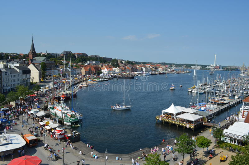 Flensburg海湾的港口在德国 库存图片