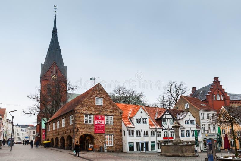 Flensburg, Alemanha Quadrado de Nordermarkt foto de stock royalty free