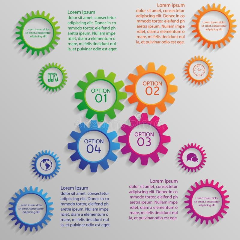 Flera färgrika kugghjul av infographic stock illustrationer