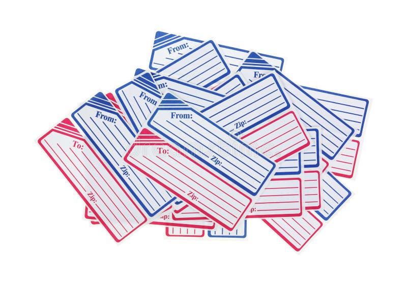 Flera generiska brevskickandeetiketter royaltyfri bild
