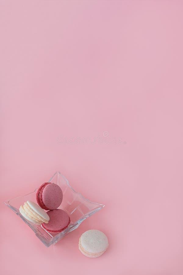 Flera mång--färgade macarons i en exponeringsglasplatta på en rosa orange bakgrund fotografering för bildbyråer