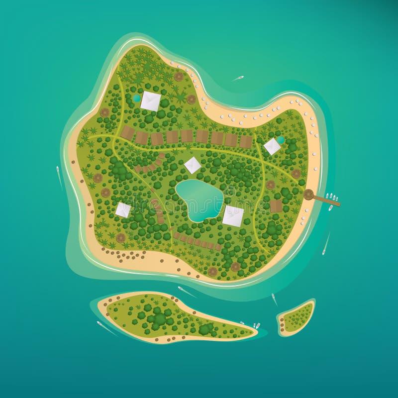 Flera tropiska öar i det öppna havet vektor illustrationer