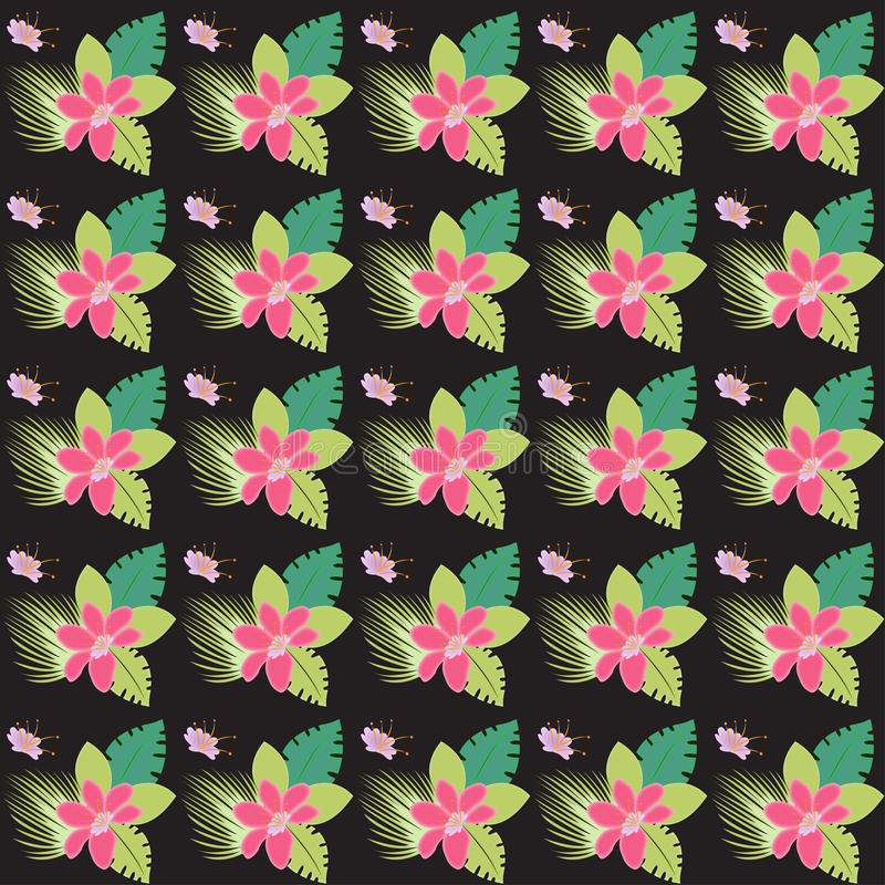 Flerfärgad bakgrund för abstrakt sömlös blom- tropisk modell royaltyfri illustrationer