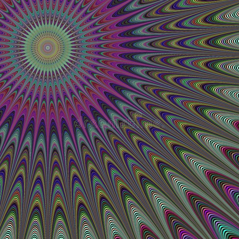 Flerfärgad bakgrund för solfractaldesign stock illustrationer