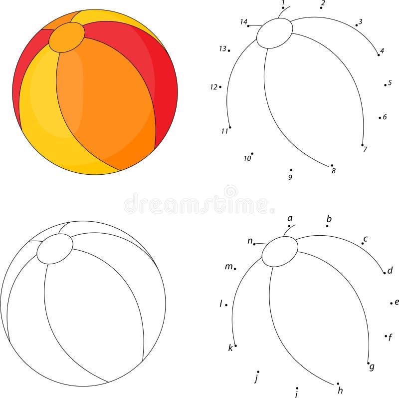 Flerfärgad boll för tecknad film Färgläggningbok och prick som pricker leken för K vektor illustrationer