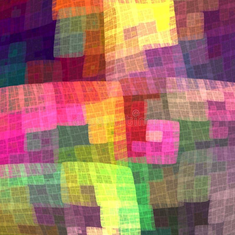 Flerfärgad färgrik rutig modell för tyget Fractallodisar royaltyfri illustrationer