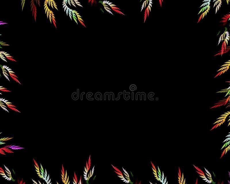 Flerfärgad fractalblomma på svart bakgrund vektor illustrationer