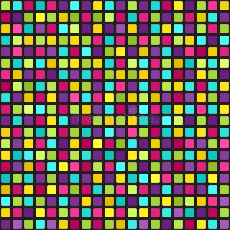 Flerfärgad fyrkantig modell Geometrisk bakgrund för sömlös vektor royaltyfri illustrationer