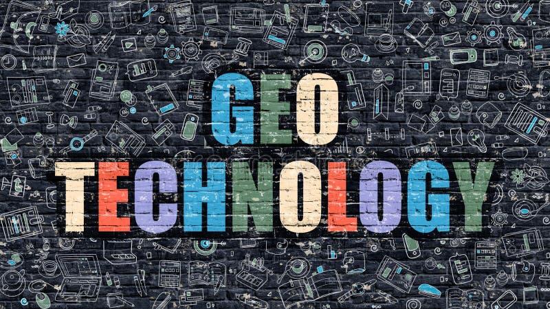 Flerfärgad Geo teknologi på mörka Brickwall Klottra stil royaltyfri illustrationer