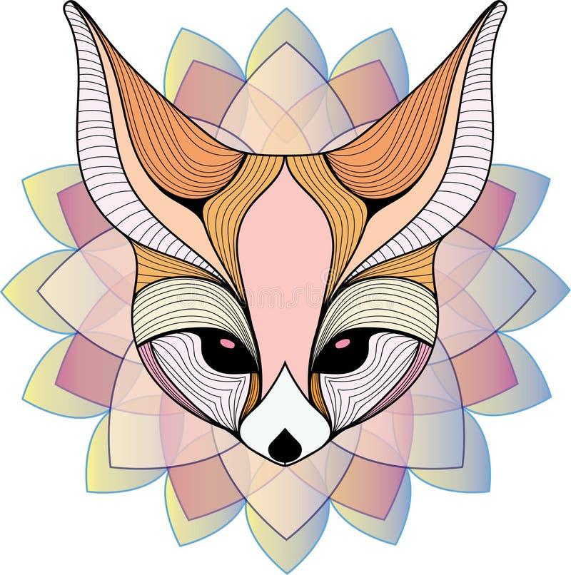 Flerfärgad grafisk illustration för Fennec räv stock illustrationer