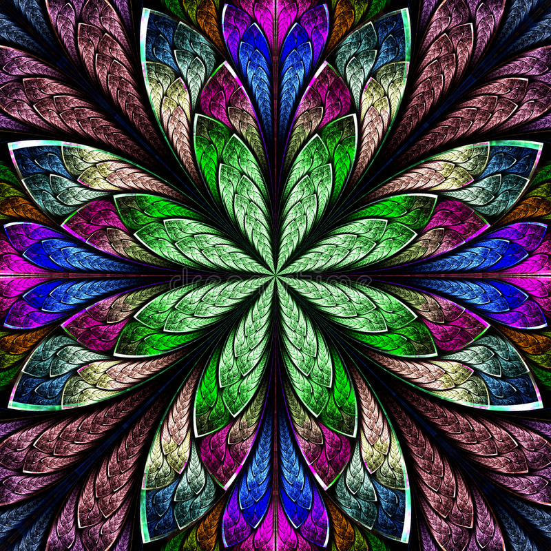 Flerfärgad härlig fractal i stil för målat glassfönster rums- stock illustrationer