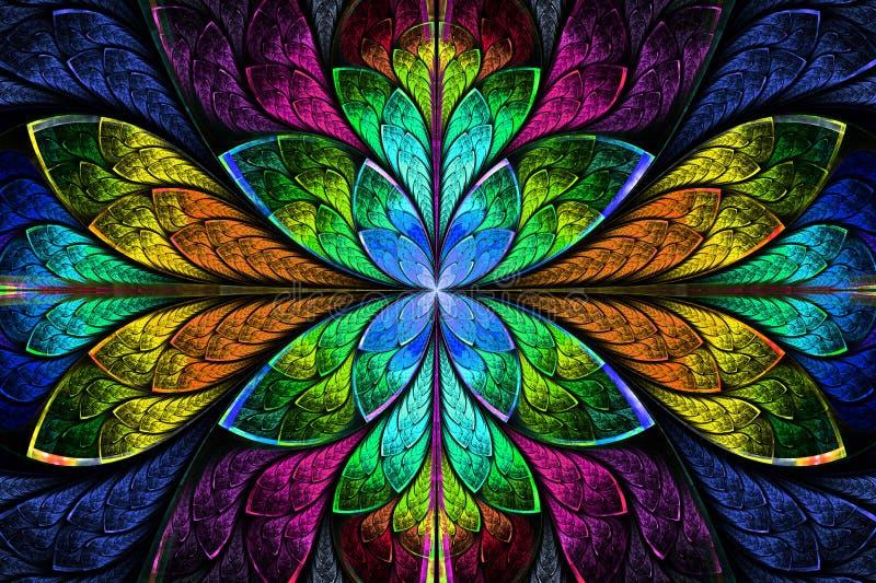 Flerfärgad härlig fractalmodell. Dator frambragt diagram vektor illustrationer