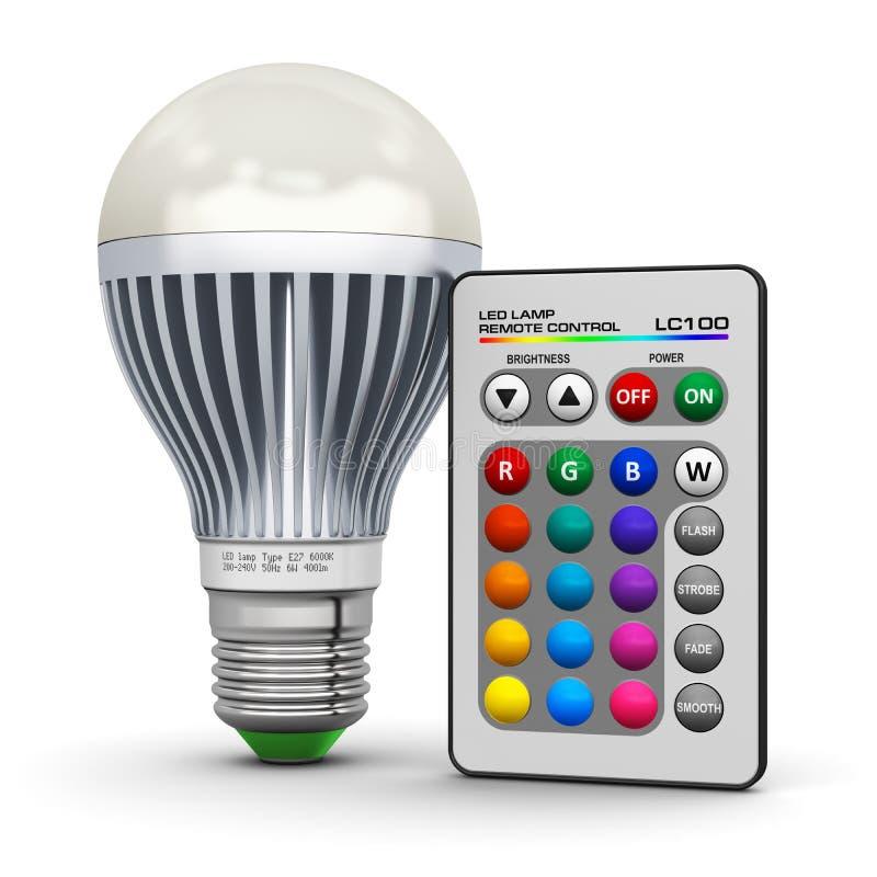 Flerfärgad LEDD lampa med trådlös fjärrkontroll stock illustrationer