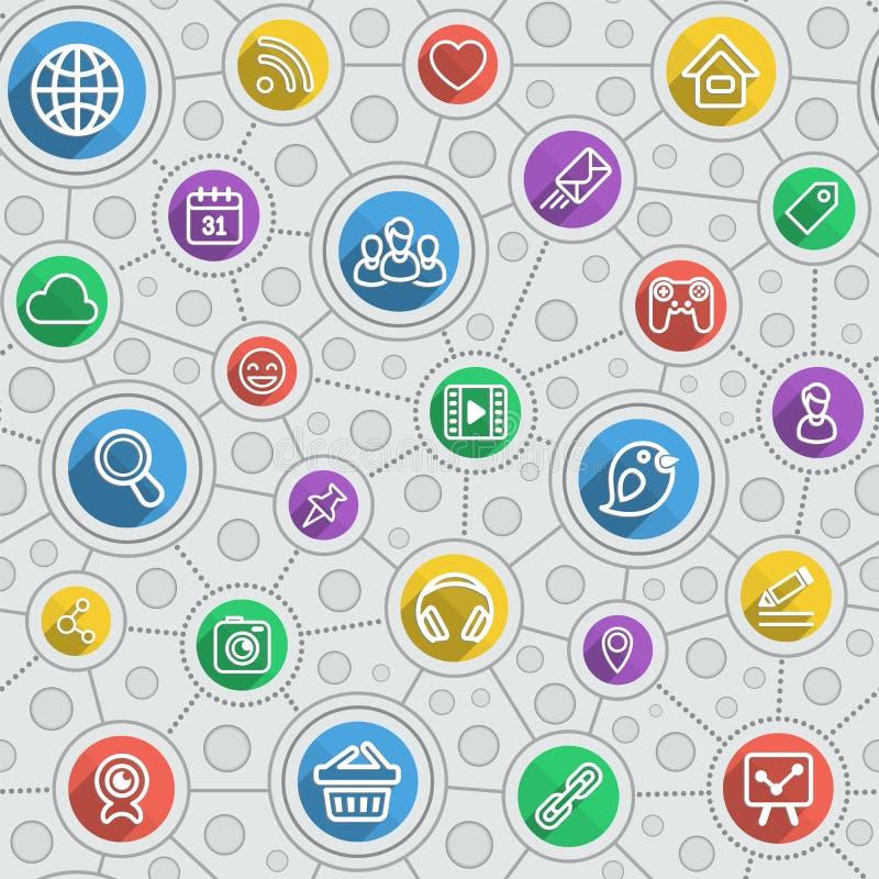 Flerfärgad modell för social nätverkandelägenhetöversikt stock illustrationer