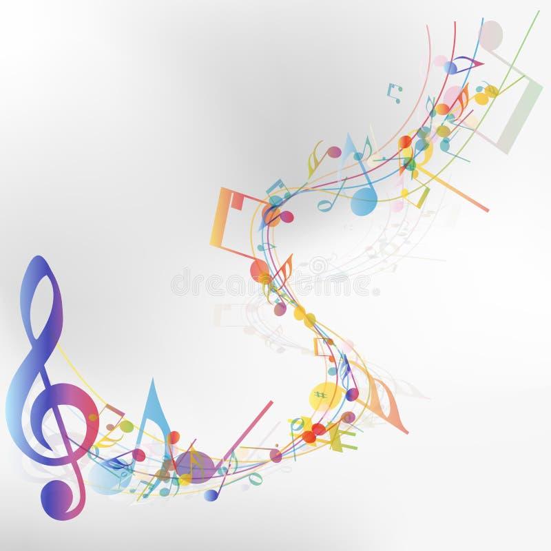 Flerfärgad personal för musikalisk anmärkning royaltyfri illustrationer