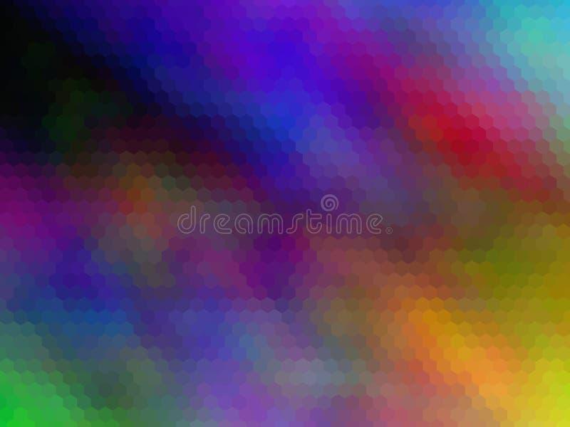 Flerfärgad sexhörnigt pixeled bakgrund Ljust färgar royaltyfri illustrationer