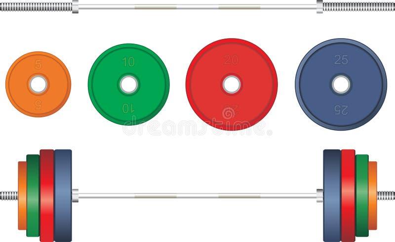 Flerfärgad skivstång på vit bakgrund vektor royaltyfri illustrationer