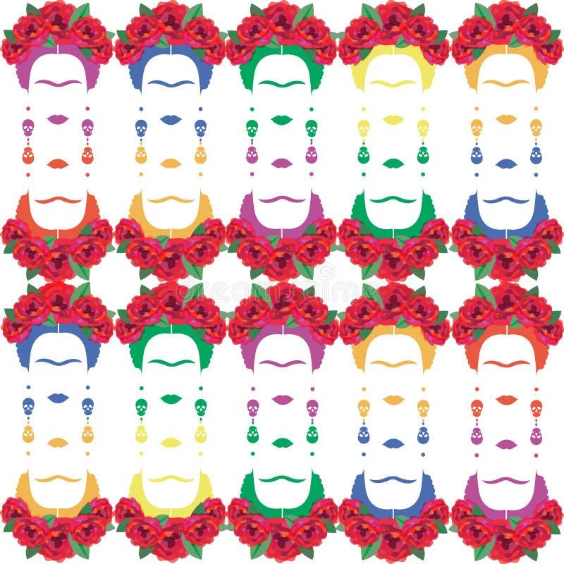 Flerfärgad stående för bakgrund av den mexicanska eller spanska kvinnan med örhängeskallar, inspiration Frida Kahlo, isolerad vek vektor illustrationer
