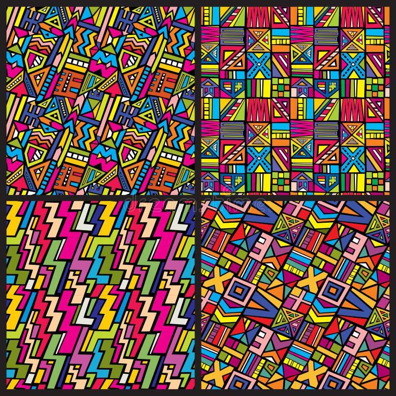 Flerfärgad stam- afrikansk sömlös vektormodelluppsättning Hippien beklär bakgrunder i 80-talstil stock illustrationer