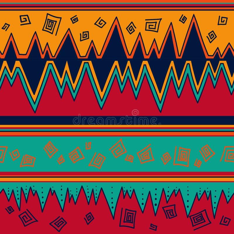 Flerfärgad stam- sömlös modell tryck för konst för aztecinfallabstrakt begrepp geometriskt Etnisk hipsterbakgrund Dragen klotterh stock illustrationer
