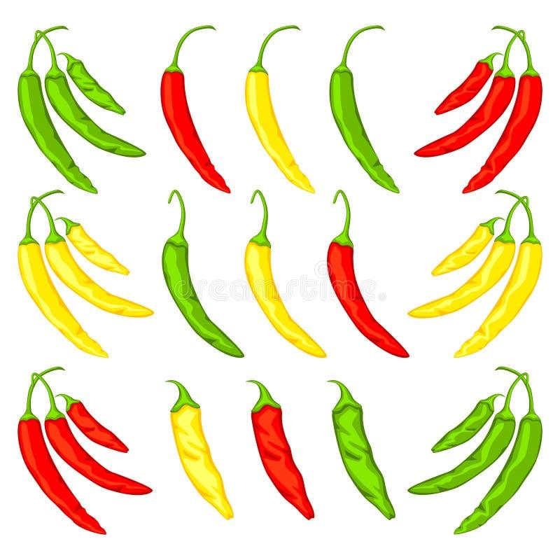 Flerfärgad uppsättning för peppar för varm chili för tecknad film stock illustrationer