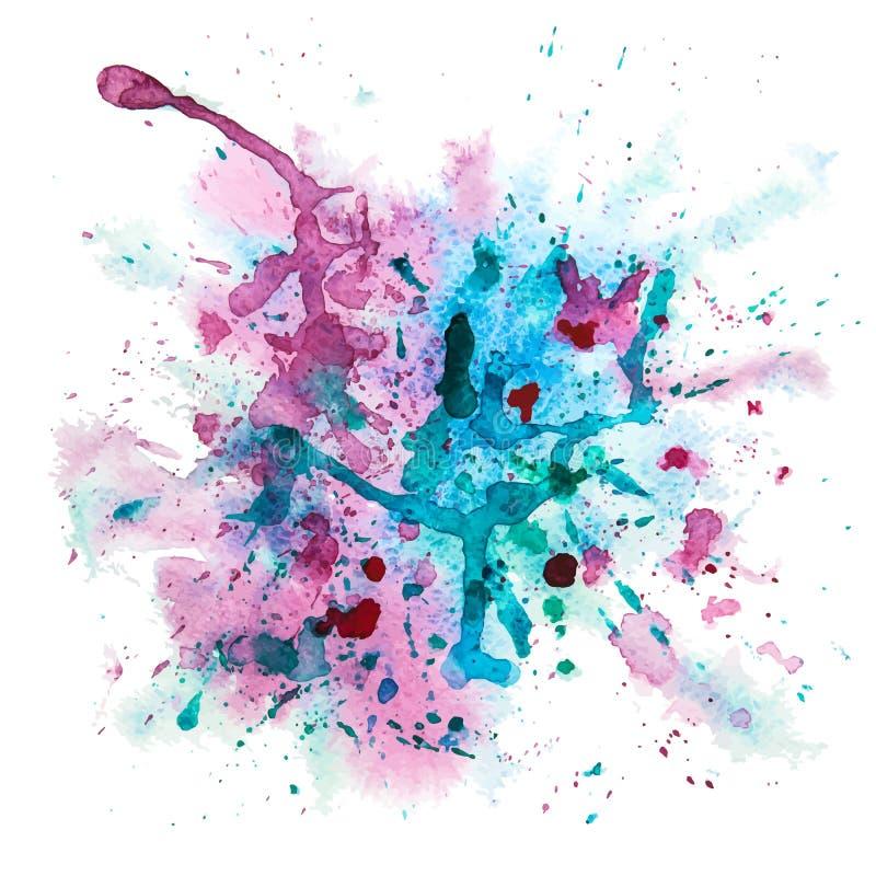 Flerfärgad vattenfärgfärgstänk stock illustrationer