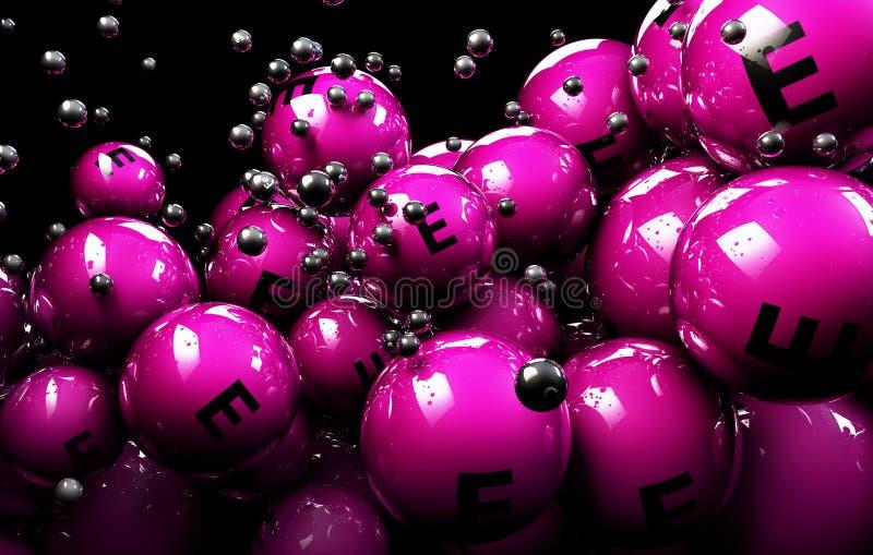 flerfärgad Vitamine för boll 3d på en svart bakgrund stock illustrationer