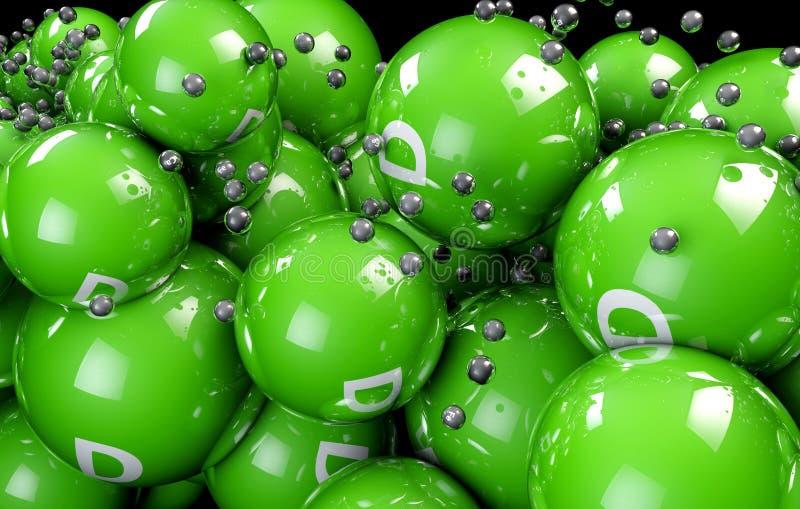 flerfärgad Vitamine för bollar 3d på en svart bakgrund vektor illustrationer