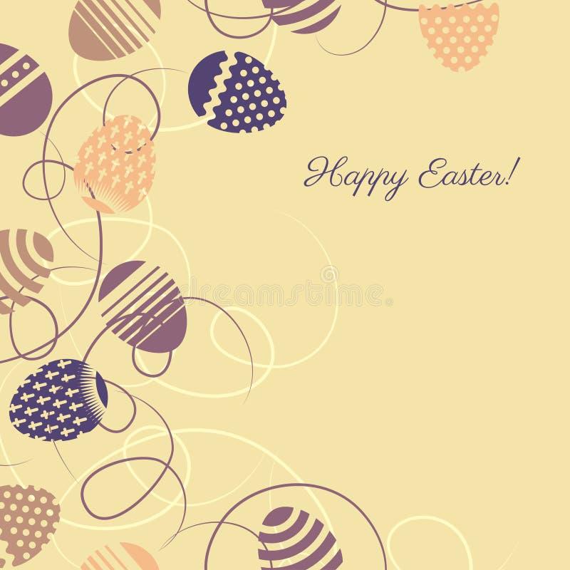 Flerfärgade ägg för påsk på gul bakgrund royaltyfri illustrationer