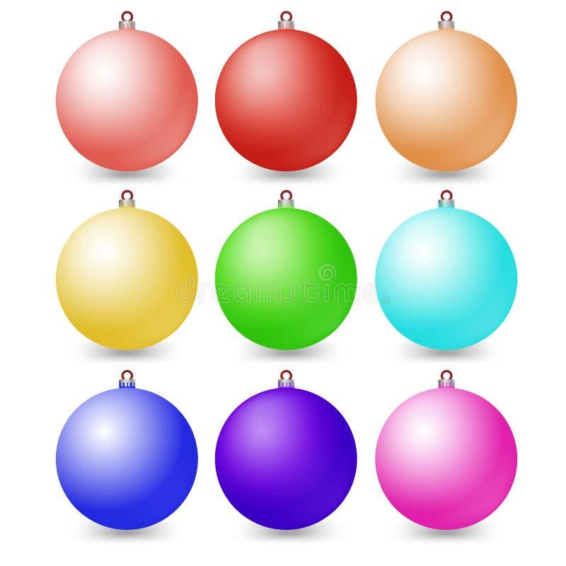 Flerfärgade bollar för illustrationjul vektor illustrationer