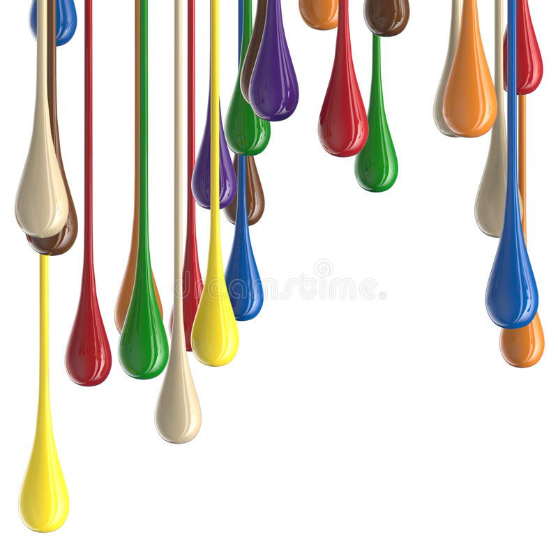 flerfärgade färgrika glansiga droppklickar för målarfärg 3D stock illustrationer