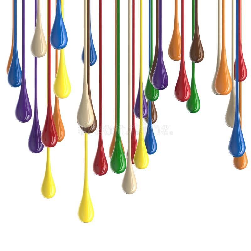 flerfärgade färgrika glansiga droppklickar för målarfärg 3D royaltyfri fotografi