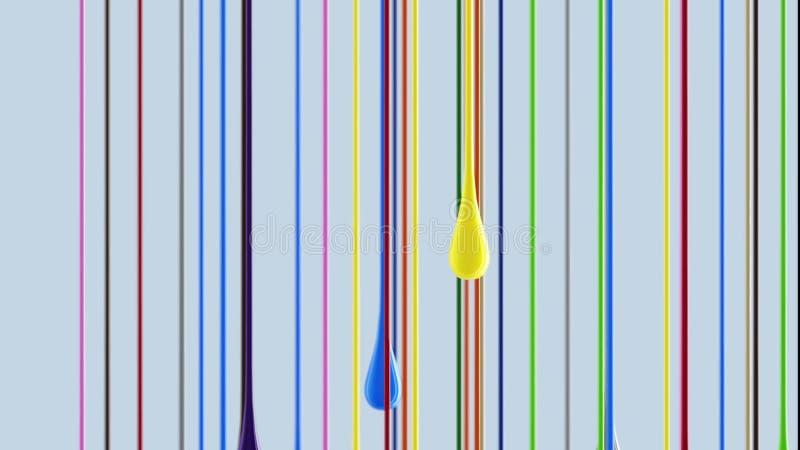 flerfärgade färgrika glansiga klickar för målarfärg som 3D ner dryper stock illustrationer