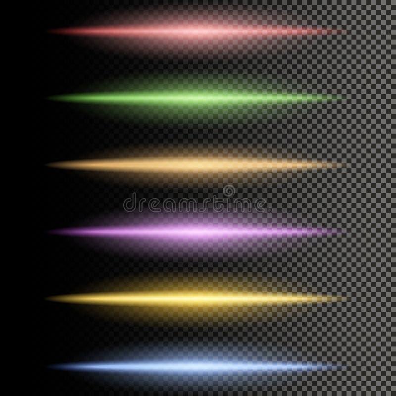 Flerfärgade glödande partiklar av ljus stock illustrationer